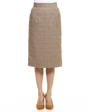 ブラウン グレンチェックナロースカート見る