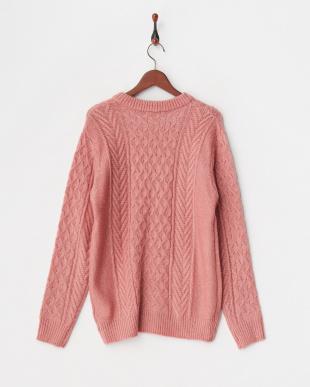 ライトピンク 編み柄ミックスカラ―クルーネックニットプルオーバー見る