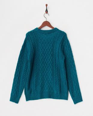 ブルー 編み柄ミックスカラ―クルーネックニットプルオーバー見る