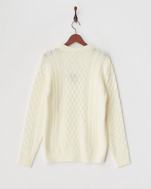 アイボリー 編み柄ミックスカラ―クルーネックニットプルオーバー見る
