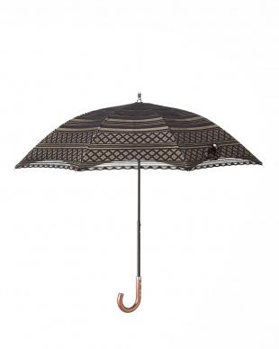 ブラック×ベージュ 晴雨兼用二重張りボーダーパラソル|WOMENを見る