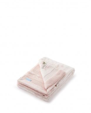 ピンク 無撚糸 いちご柄刺しゅう入りバスタオル見る