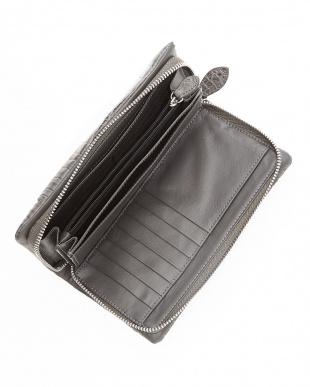 ダークグレー クロコ携帯ポケット付財布見る