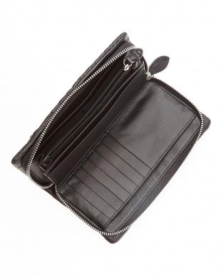 ブラック クロコ携帯ポケット付財布見る