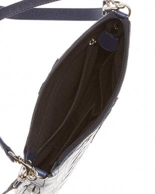 ブラック/ネイビー クロコホーンショルダーバッグ見る