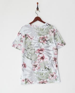 グリーンレッド トロピカルフラワープリントTシャツを見る