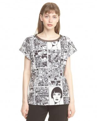 グレー バックチュール切り替え コミックプリントTシャツを見る