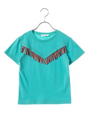 BLUE フリンジ切り替えTシャツ見る