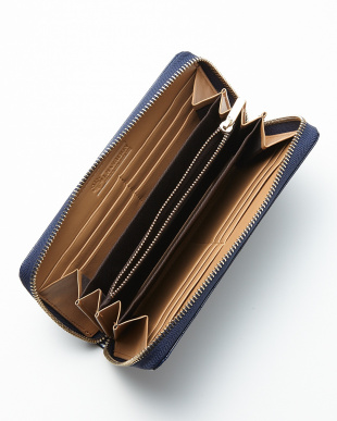 ブルー クロコ型押しラウンド財布見る
