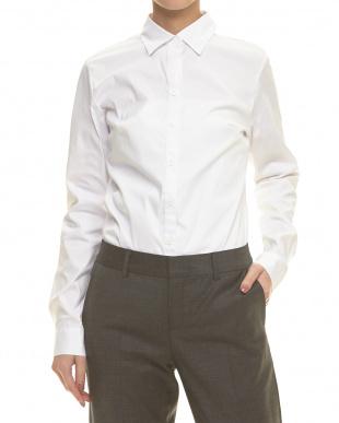 003 ホワイト ストレッチコットンレオタードシャツ見る