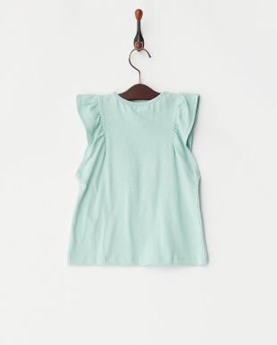 グリーン フラワープリント袖フリルカットソー(130以下)見る