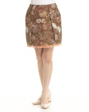 ブラウン フラワーフリンジヘムスカートを見る