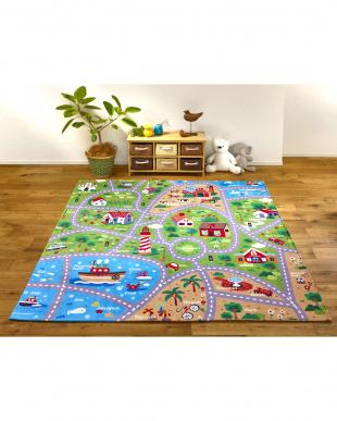 遊べて洗えるキッズラグ タウン 185×185cmを見る