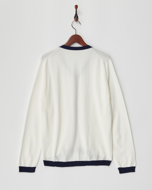 WHITE×NAVY KNIT CARDIGAN見る