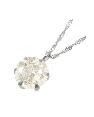 Pt999 純プラチナ 天然ダイヤモンド 0.3ct Hカラー・I1クラス 6本爪ネックレス(チェーンPt850)見る