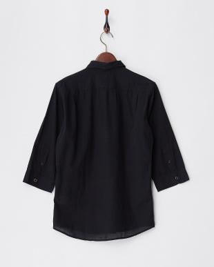 9400 ブラック 7分袖コットンシャツ見る