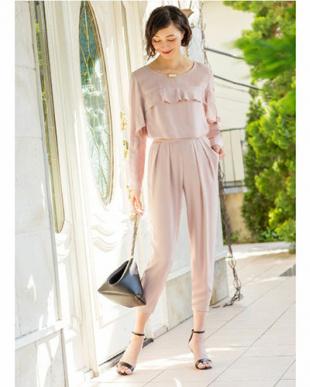ピンク STYLE DELI DRESS フリルラインパンツセットアップ見る