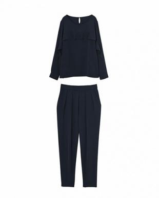 ネイビー STYLE DELI DRESS フリルラインパンツセットアップ見る