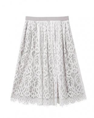 ホワイト LUXE ボタニカルレース 膝丈ギャザースカートを見る