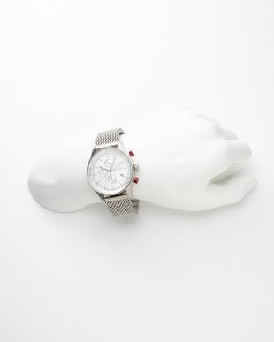 白 クロノグラフ メッシュベルト 腕時計|MENを見る