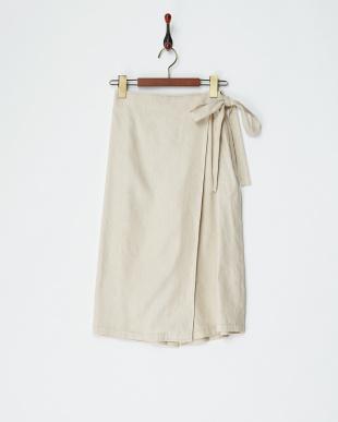 ベージュ ラップスカート風ガウチョパンツを見る