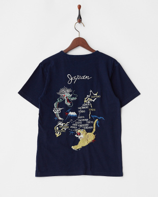 INDIGO インディゴ天竺刺繍Tシャツ(MAP)見る