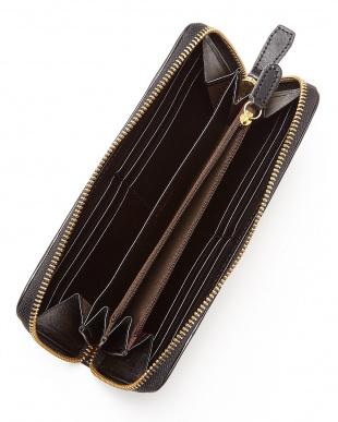 BK(ブラック) ヌメ革カウレザーオイル加工仕上げラウンドジップ長財布/ウォレット見る