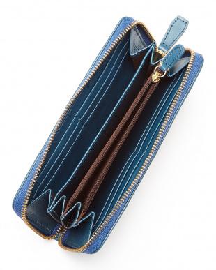 BL(ブルー) ヌメ革カウレザーオイル加工仕上げラウンドジップ長財布/ウォレット見る