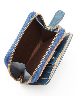 BL(ブルー) ヌメ革カウレザーオイル加工仕上げ2つ折りジップウォレット/財布見る