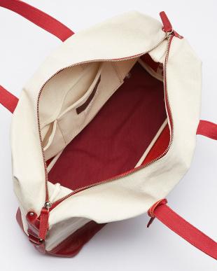 RE(レッド) RE(レッド) 日本製 Herdmans社リネンコットンキャンバス×型押しヌメ革ボストンバッグ見る