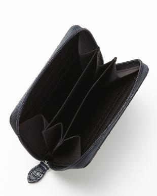 ネイビー カイマンワニ革&牛革クロコ型押しコンパクト財布見る