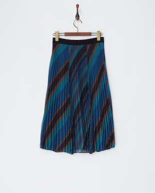 midnight blue pattern CARDIFF プリーツスカート見る