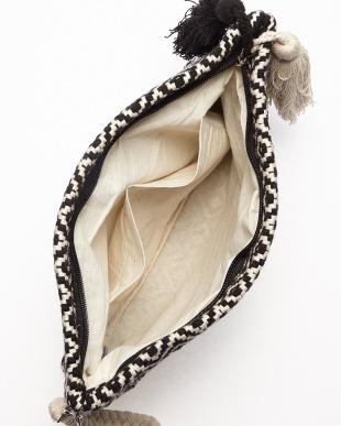 A OFF WHITE×BLACK MONOTONE JACQUARD ZIP CLT(手織り)ダイヤ柄見る