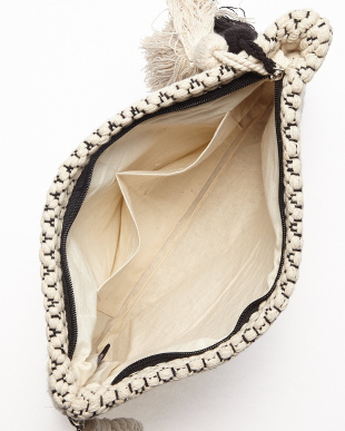C OFF WHITE×BLACK MONOTONE JACQUARD ZIP CLT(手織り)小紋柄見る