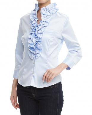 青 コットン混ボリュームフリルシャツを見る