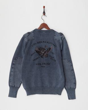 NAVY 刺繍コマンドセーター見る