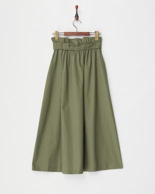 カーキ ウエストリボン トレンチ風プルオンスカート見る