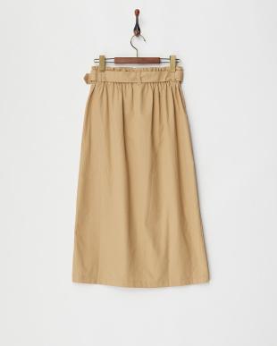 ベージュ ウエストベルト トレンチ風プルオンスカート見る