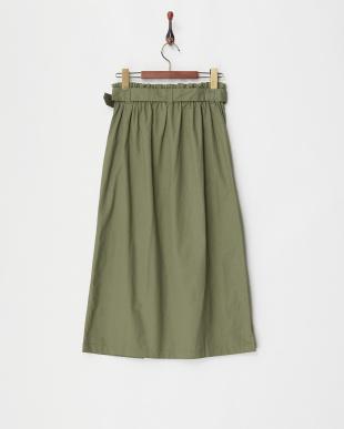 カーキ ウエストベルト トレンチ風プルオンスカート見る