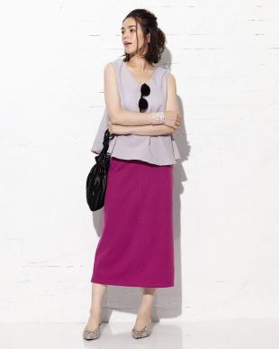 サーモンピンク シンプルタイトスカート見る