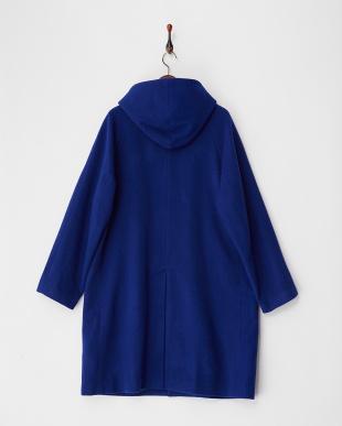 blue ウールカラーフードコート見る