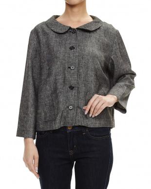 ブルー 麻レーヨン綾織りジャケットを見る