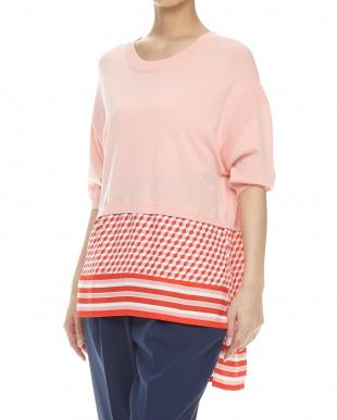 ピンク 異素材切り替えsweater見る