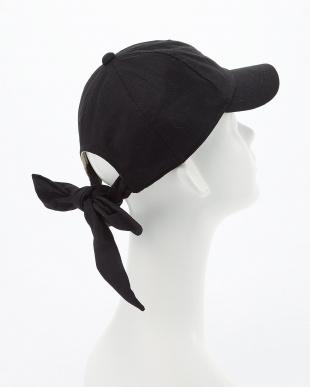 ブラック COTTON LINEN RIBBON CAPを見る