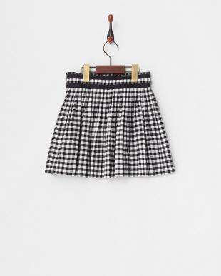 ブラック Skirt ギンガムプリーツ×異素材切替(34~)見る