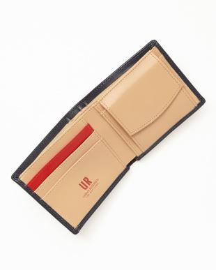 ネイビー×ベージュ レザー切り替え二つ折り財布 MENを見る