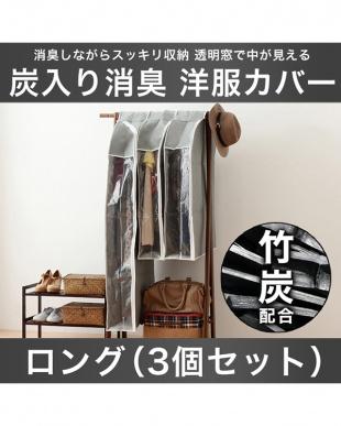 洋服カバー パッと見える 炭入り消臭 衣類カバー ロング 130cm(3個セット)見る