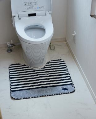 ネイビー タフトトイレマット 55×60cm見る