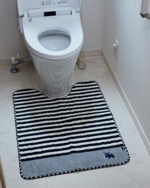 ネイビー タフトトイレマット 80×60cm見る