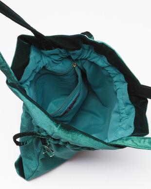 グリーン ベルベット巾着トートバッグ/Tを見る